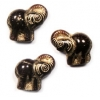 Glass Bead Elephant 20x21mm Carneol/Gold Painted Strung
